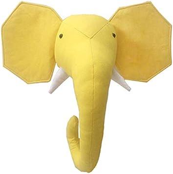 TOOGOO Pared de Animales en 3D Cabeza de Peluche Linda Juguetes para Colgar en la Habitación Ni?os Esculturas de Pared con Animales - Elefante