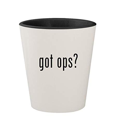got ops? - Ceramic White Outer & Black Inner 1.5oz Shot Glass
