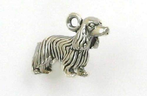 Sterling Silver 3-D Cocker Spaniel Dog Charm - Jewelry Accessories Key Chain Bracelet Necklace Pendants