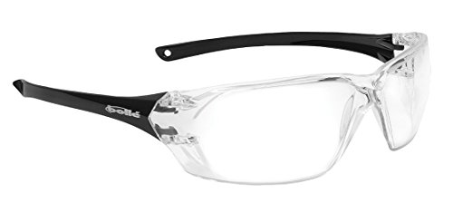 Bollé Safety 253-PR-40057 Prism Safety Eyewear with Shiny Black Rimless Frame and Clear Anti-Scratch/Anti-Fog (Industrial Safety Glasses)