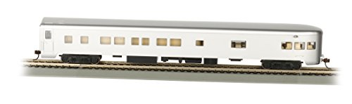 Bachmann Industries Painted Unlettered Aluminum Smooth-Side Observation Car with Lighted Interior (HO Scale), (Aluminum Passenger Coach)