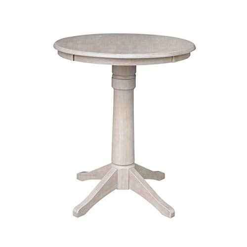 International Concepts 30'' Round Top Pedestal Table-34.9'' H, Washed Gray Taupe by International Concepts