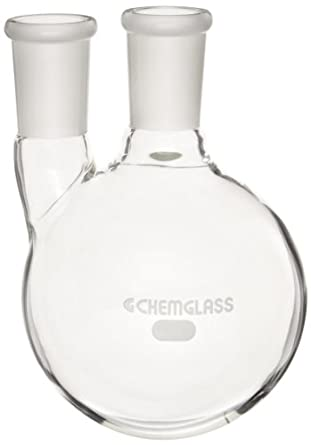 Chemglass CG-1518-06 Glass 500mL Round Heavy Wall 2 Neck Bottom Boiling Flask with 24/40 Standard Taper Outer Joint