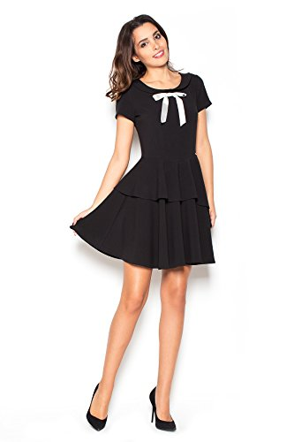 Weibliches Kleid mit Kragen Schwarz Größe Oberteil 36 Schleife Katrus und ZdpxqZ