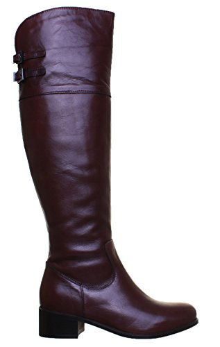 Justin Reece Francesca Womens Leather Matt Boots Dark Brown kMBzC1