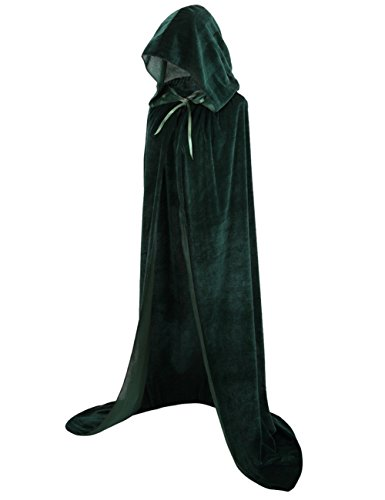 Colorful House Unisex Full Length Velvet Hooded Cape Halloween Christmas Cloak (59, Pure Green)