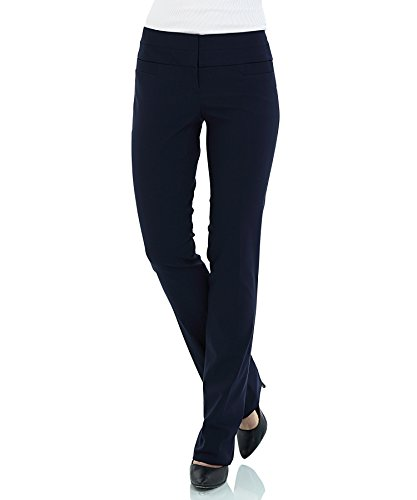 SATINATO+Women+Ideal+Stretch+Trousers+Slim+Bootcut+Office+Pants+10%2FR-Blue