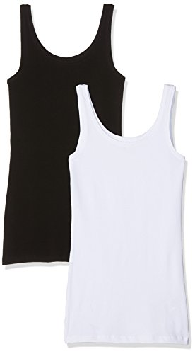 Only, Camiseta sin Mangas para Mujer (lot de 2) Multicolor (Black Pack:black And White)
