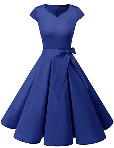 DRESSTELLS Retro 1950s Cocktail Dresses Vintage Swing Dress with Cap-Sleeves RoyalBlue XS