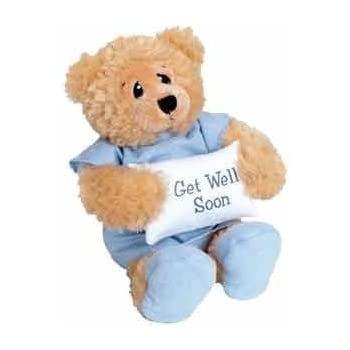 """11"""" Plush PATIENT BEAR - FEEL BETTER Gift/Wearing Blue Hospital Gown & Slippers/Holding GET WELL SOON Pillow/ILLNESS/Sick CHILD/CHEER UP/Surgery"""