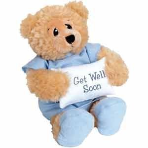 11'' Plush PATIENT BEAR - FEEL BETTER Gift/Wearing Blue Hospital Gown & Slippers/Holding GET WELL SOON Pillow/ILLNESS/Sick CHILD/CHEER UP/Surgery
