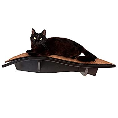 Arf Pets Cat Perch, Wall-Mounted Wooden Shelf for Your Pet – Attractive Curved Wood Ledge Encourages Natural Activity & Fun Exercise for Your Kitty – Sturdy Feline Furniture, Holds Cats Up to 44 Lbs.