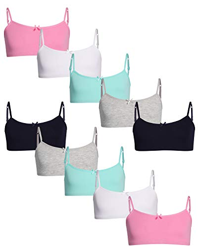 Rene Rofe Bow - Rene Rofe Girls Cotton Spandex Cami Crop Training Bra with Adjustable Straps (10 Pack) (Asst #5, Medium / 7-8)'