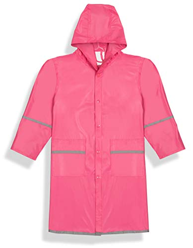 (Fabugears Kids Raincoat for Girls | Waterproof Rain Jacket for Youth, Juniors | Snap-On Closures | Hooded and Long Sleeves with Reflectors | Full-Length Rain Slicker | Size: XXL (17-18) Color: Pink)
