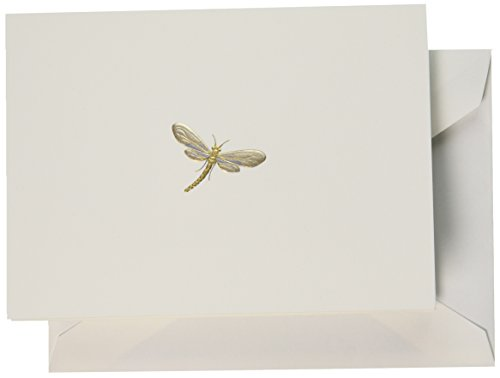 Note Card Dragonfly - Crane & Co. Hand Engraved Dragonfly Note (RF1403)