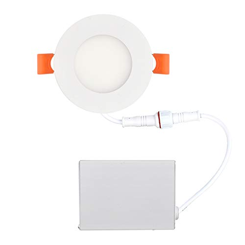 OSTWIN 3 inch 6W (30 Watt Repl.) IC Rated LED Recessed Low Profile Slim Round Panel Light with Junction Box, Dimmable, 5000K Daylight 420 Lm. No Can Needed ETL & Energy Star Listed