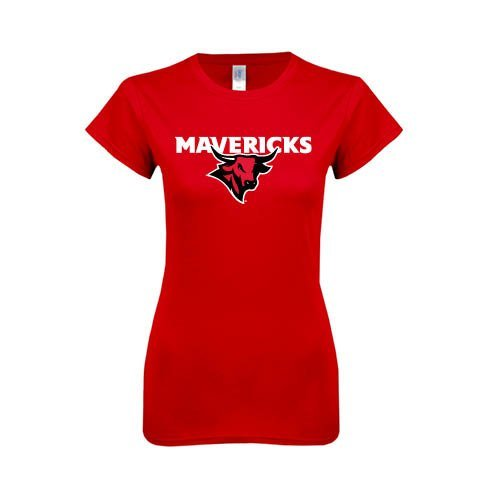 Nebraska Omaha Next Level Ladies SoftStyle Junior Fitted Red Tee 'Mavericks w/Maverick Head'