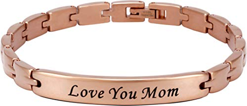 Smarter LifeStyle Elegant Mom & Mother Themed Surgical Grade Steel Women's Bracelet Gift, Many Styles to Choose from (Love You Mom - Rose Gold)