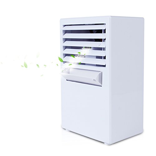 ZIME Personal Air Conditioning Fan, Mobile Evaporating Air Cooler Desk Fan Table Humidifier For Home, Office, Dorm (White) by ZIME