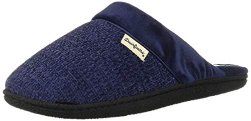 (Dearfoams Women's Wide Width Chenille Clog with Quilted Sock Slipper, Peacoat, XL W US)
