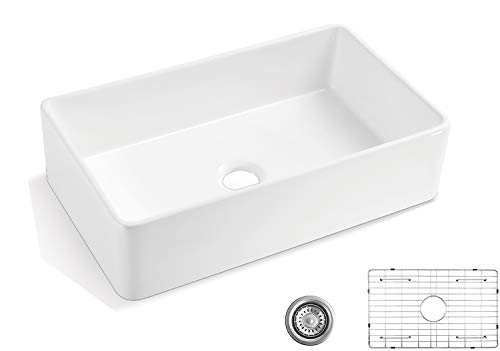 Farmhouse Kitchen ALWEN 33 White Farmhouse Sink, Fireclay 33 Apron Front sink, Luxury Single Basin Kitchen Sink, 33 inch Farmhouse Sink… farmhouse kitchen sinks