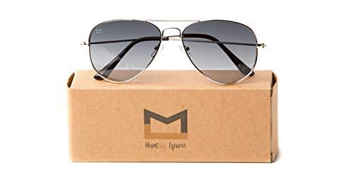 Polarized Aviator Sunglasses with UV400 protection by MasonLily Eyewear (silver, grey ()