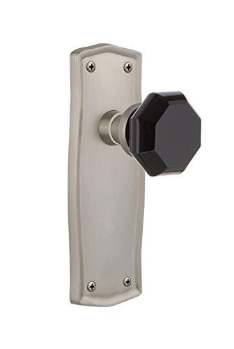 (Nostalgic Warehouse 722546 Prairie Plate Single Dummy Waldorf Black Door Knob in Satin Nickel)