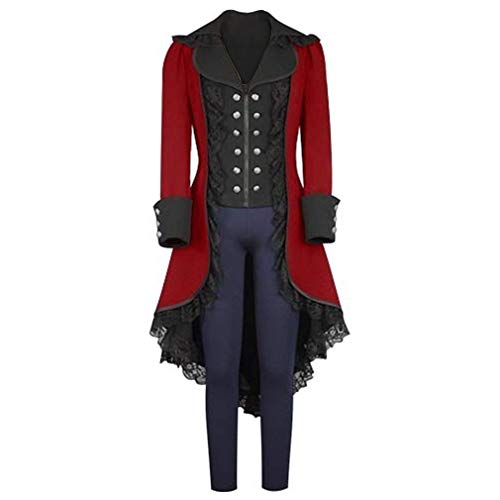 (obtai Womens Gothic Tailcoat Steampunk Jacket Tuxedo Suit Coat Victorian Costume, Red,)