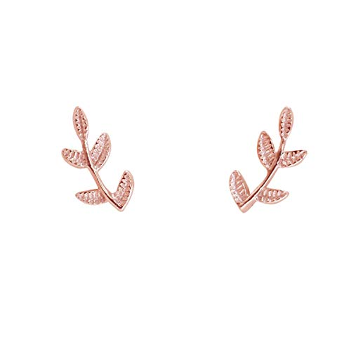 Humble Chic Tiny Leaf Studs - 925 Sterling Silver Dainty Branch Post Ear Stud Earrings, 14K Rose Tiny Branch, Pink, Gold-Electroplated, Hypoallergenic