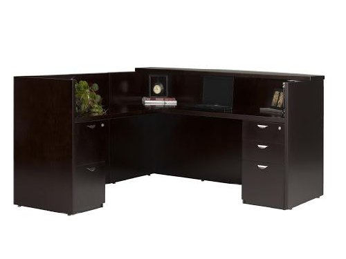 Mira Reception Station with Return and 2 File Pedestals Finish: Espresso