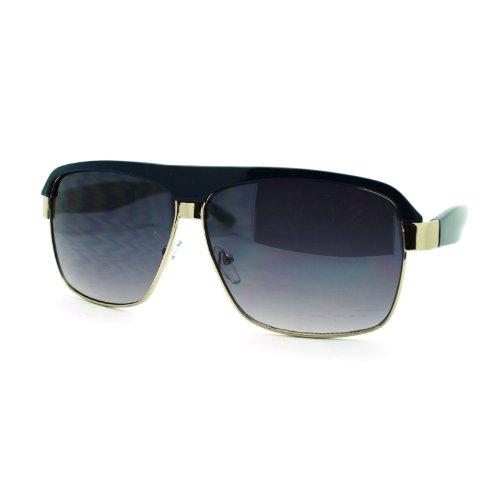 Men's Designer Fashion Sunglasses Square Flat Top Boss Shades Blue - Orange Sunglasses Boss Blue