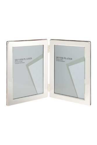 Viceni Silver Plated Double Aperture Picture Photo Frame, 5 by 7-Inch (Coated Frame Silver)