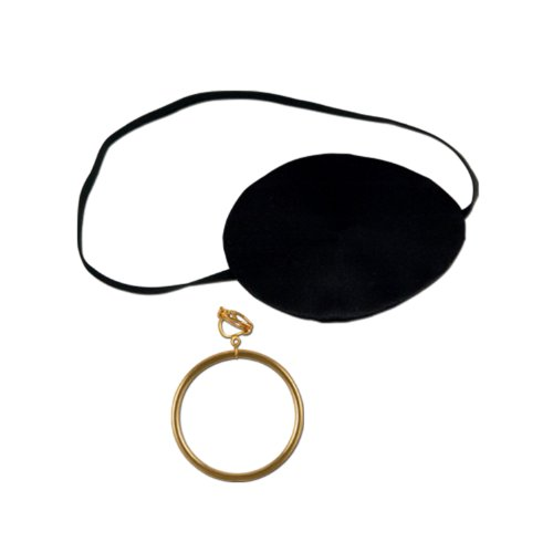 Pirate Eye Patch w/Plastic Gold Earring Party Accessory (1 count) (Pirate Party Costume)