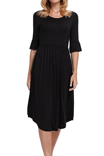 Jersey Ruffle Sleeve Dress (Leindr Women's Casual Ruffle 1/2 Sleeve Scoop Neck Midi Dress Solid Color Ruffle-Layer Loose Swing Jersey Dress Black S 4 6)