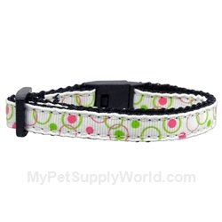 Mirage Pet Products Retro Nylon Ribbon Cat Safety Collar, White