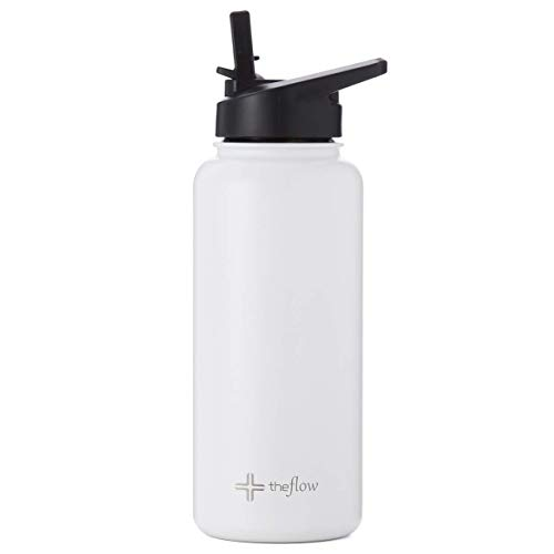 the flow Insulated Water Bottle Large 32oz Stainless Steel Hydro Vacuum Flask with Leakproof Straw Lid/Pitcher//Coffee Flip/Carabiner, Double Wall Travel Iron Metal Modern Tumbler for Hot/Cold Drink