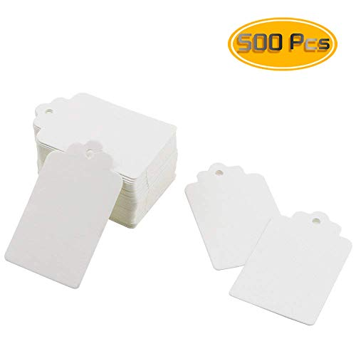 Weoxpr 500pcs White Merchandise Tags, Marking Tags Price Tags Display Tags Price Labels Writable Tags, 1.96 x 1.18 inches