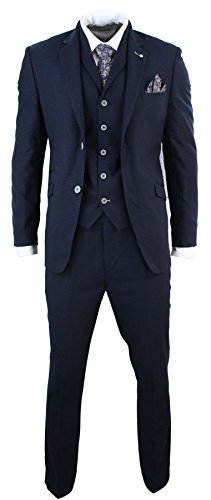 Mens 3 Piece Navy Pattern Suit Formal Smart Prom Office Wedding Tailored Fit by Cavani