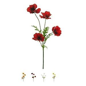 Wild Meadow Poppy Spray Silk Flower Stem 4 Heads Quality Artificial Flowers in a (Red) 84