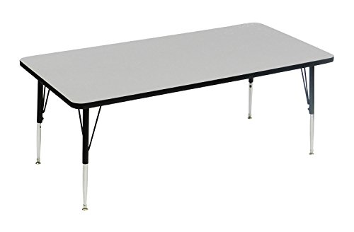 Correll AM2448-REC-15  EconoLne Melamine Activity Table, 24'' x 48'', Rectangular Gray Granite Top, Heavy Duty Height Adjustable Legs, 21'' - 30'' by Correll