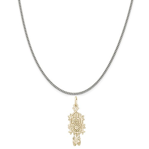 - Rembrandt Charms Two-Tone Sterling Silver Cuckoo Clock Charm on a Sterling Silver Curb Chain Necklace, 20