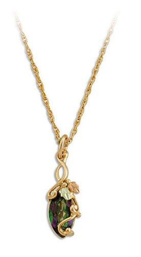 Landstroms 10k Mystic Fire Topaz Pendant Necklace, in Black Hills Gold, 18