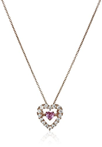Sterling Silver with Pink-Gold Plating Created Pink Sapphire and Created White Sapphire Dancing Heart Pendant Necklace,18""