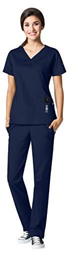 - WonderWink Seven Flex Women's Medical Uniforms Scrub Set Bundle- 6702 Crossover Mock Wrap Scrub Top & 5702 Cargo Scrub Pants & MS Badge Reel (Navy - Medium)