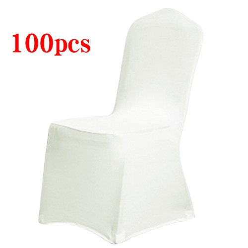 (Boshen Set of 1/10/20/50/100 Pcs Removable Washable Stretch Hotel Banquet Dining Spandex Chair Covers (100 PCS, Ivory/Style 1))