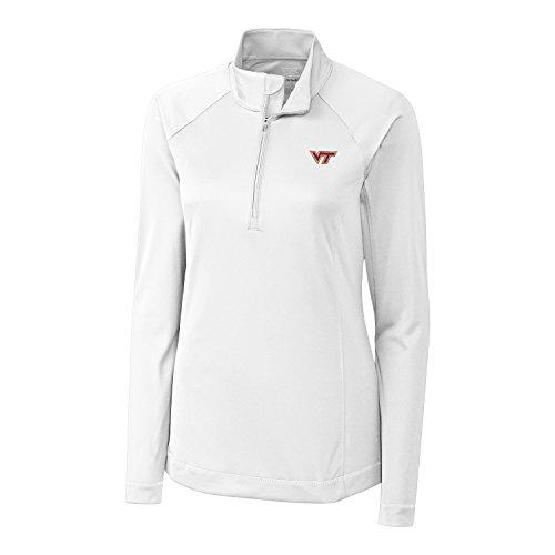 Cutter & Buck NCAA Virginia Tech Hokies Women's Long Sleeve Evolve Half Zip Tee, White, Medium (Virginia Pullover)