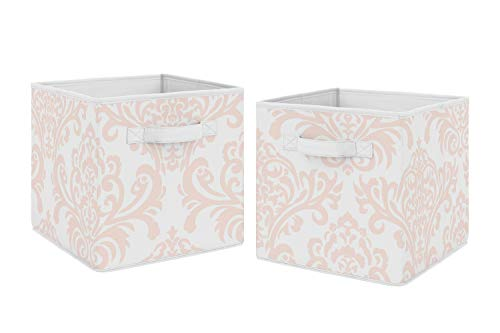 Sweet Jojo Designs Blush Pink and White Damask Organizer Storage Bins for Amelia Collection - Set of 2