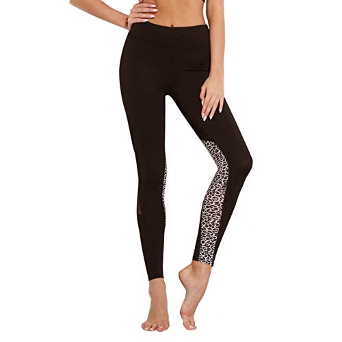 AmDxD Running Pants Polyester Athletic Pants Joggers Pants for Women Heart Leopard Stripe Fabric Print Blue Leopard Size XL ()