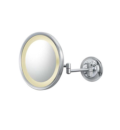 Mirror Image Single-Sided Round LED Lighted Magnified Make-up Mirror, Chrome (Kitchen Mounted 944 Wall)