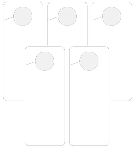 SecurePro Products Blank, ERASABLE (If Using a Dry Erase Marker) Plastic Door Knob Hangers, Write Your Own Messages, 8.125